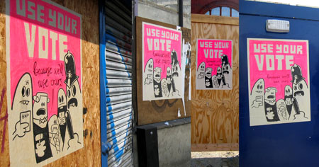 Positive Graffiti with Dave the Chimp - vote for your rights!